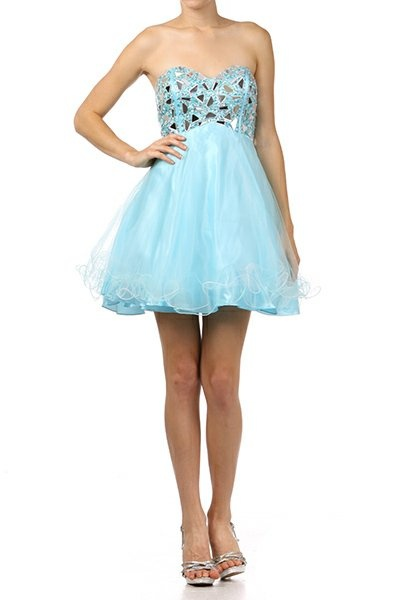 Light Turquoise Prom Dress Short A Line Empire Waist Strapless Beads $177.99