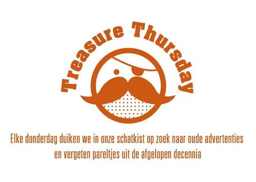 Treasure Thursday blog logo - Elke donderdag duiken we in onze schatkist op zoek naar oude advertenties en vergeten pareltjes uit de afgelopen decennia. Je vindt ze op de blog http://treasurethursday.tumblr.com/