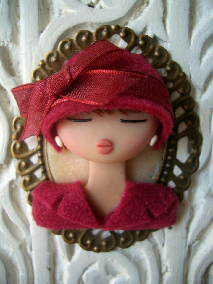 lovely lady with hat polymer clay