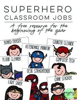 This free resource is part of a larger classroom decor kit with a Superhero theme. You can find an expanded version with additional jobs and editable forms in the complete resource. This product was intended as a small back to school gift, and wasnt meant to be an exhaustive resource.