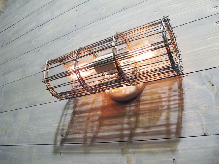 Industrial Wall Sconce or Ceiling Light w/ Two Light Porcelain Socket and Grey Galvanized Steel Cage - Industrial Lighting by VexDecor on Etsy https://www.etsy.com/uk/listing/236774416/industrial-wall-sconce-or-ceiling-light