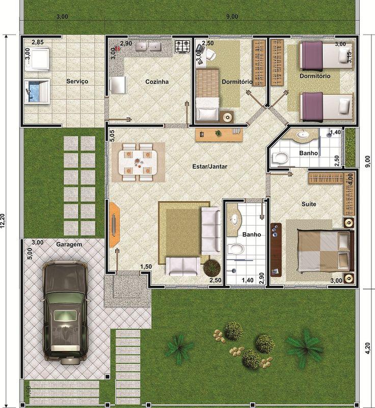 projeto de casa de 3 quartos com 107 87m plantas