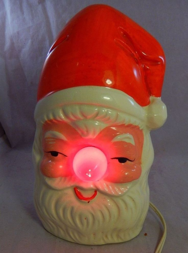 Vintage Santa Claus Head TV Night Table Lamp Light w Red Nose-Bulb Made in Japan