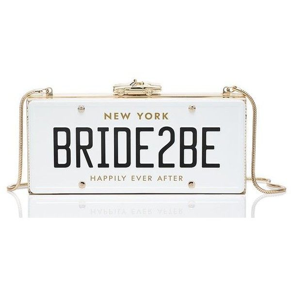 Kate Spade Wedding Belles Bride2be License Plate Clutch ($398) ❤ liked on Polyvore featuring bags, handbags, clutches, kate spade, white purse, kate spade handbag, white clutches and white handbags