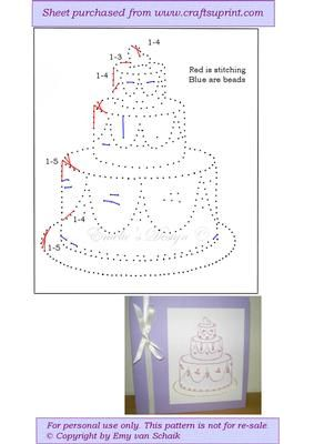 ED096 Weddingcake on Craftsuprint designed by Emy van Schaik - Stitching with beads - Now available for download!