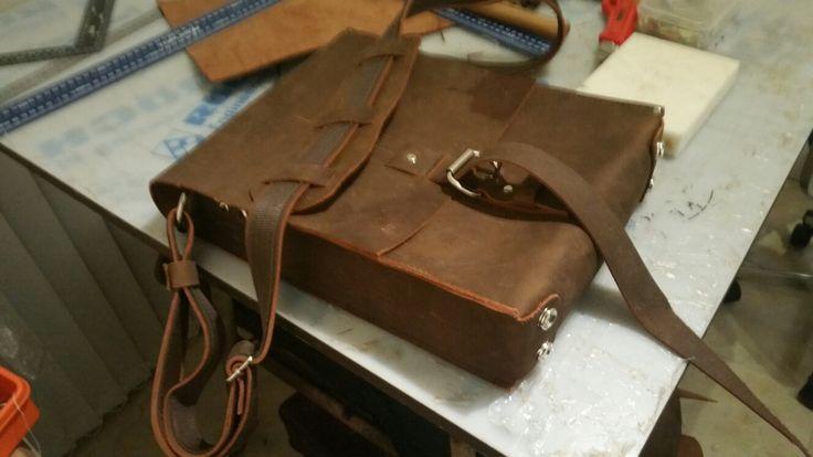 Brown buffalo leather vertical laptop bag