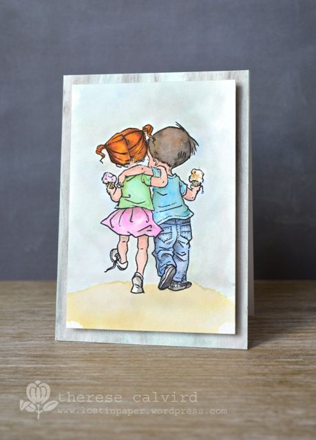 Lostinpaper - Penny Black Summer Love / watercolour / Gelato / card (video)