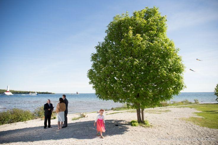 Mackinaw city beach wedding