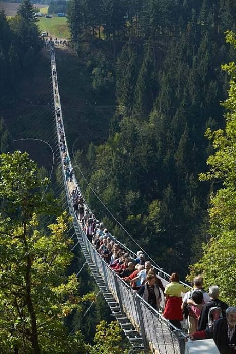 An aerial view over Germany's longest suspension bridge