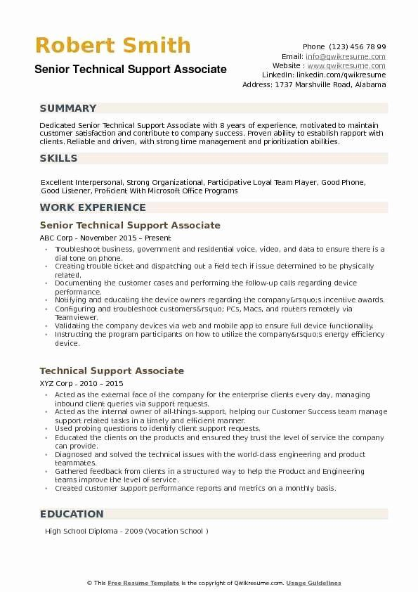 Technical Support Resume Examples Best Of Technical Support Associate Resume Samples In 2020 Job Resume Examples Good Resume Examples Resume Examples