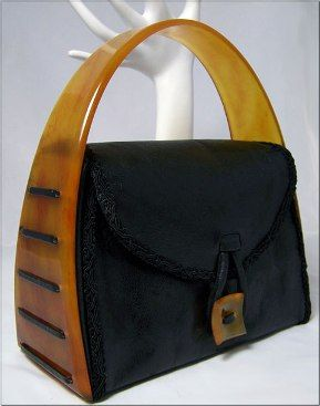 *1940s Lucite Leather Handbag *Permission and photo from the personal collection of Michele Howard.