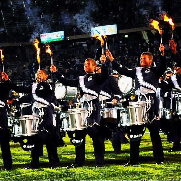 The UConn Drumline lights up the field at the Pitt game. The Huskies won 24-17.