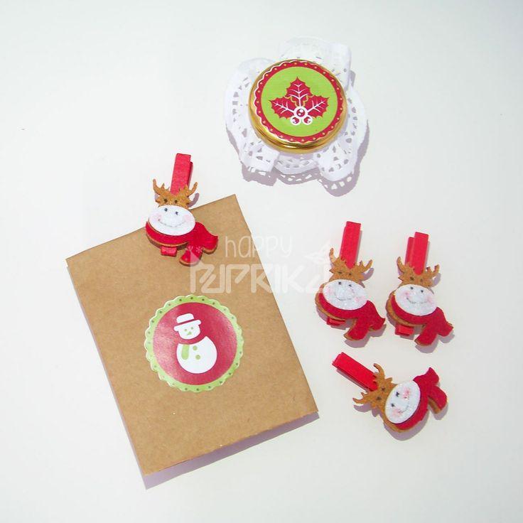Hediye paketleriniz ve yılbaşı gecesi çerez paketleriniz için dörtlü mandal set. #sweet #hediye #yeniyıl #parti #partisüsleri #sticker #etiket #etikettasarımı #yılbaşı #christmas