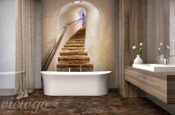 Drewniane-schody-do-lazienki-fototapety