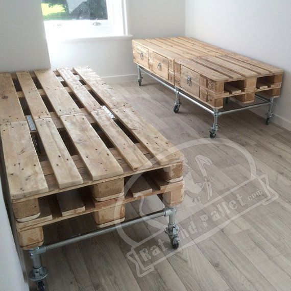 Scaffold and Pallet Wood Bed with Headboard and by RatAndPallet
