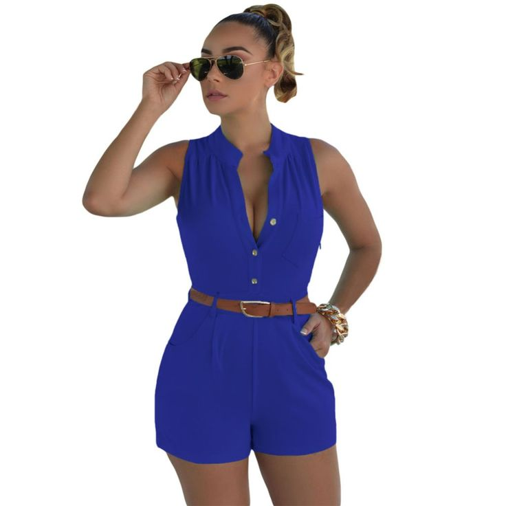 Plus Size XXL Short Casual Rompers And Jumpsuits V-neck Tunic Belted Sexy Monos De Mujer Womens Summer 2016 One Piece Playsuits
