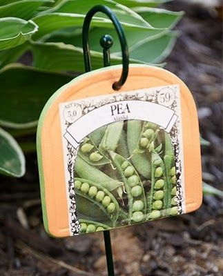 mod podge seed packets onto garden markers, vases, etc!  Love all the ideas on this page!