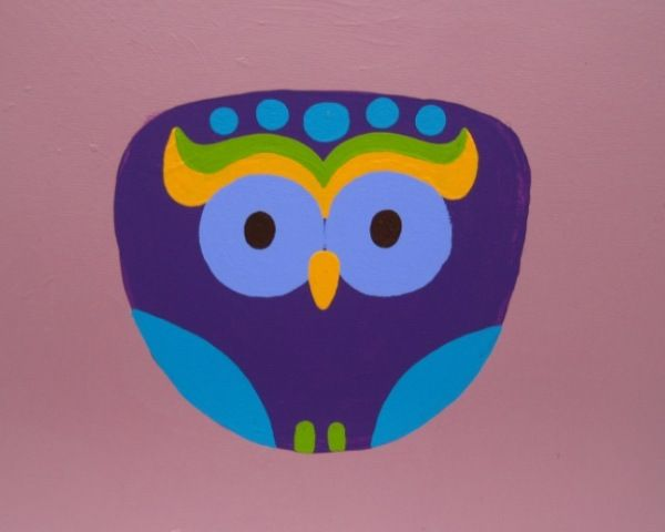 Owl with mellow background - acrylic painting on canvas