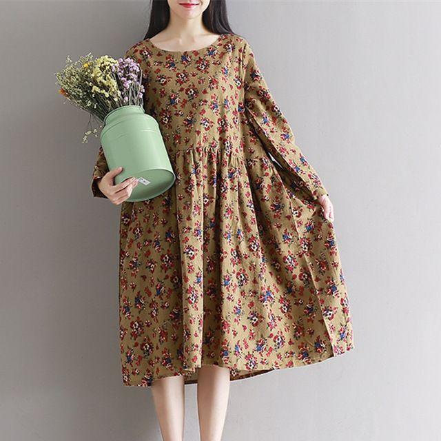 2017 New fashion dress vintage print floral dress soft cotton linen plus size loose autumn spring dress women midi dress