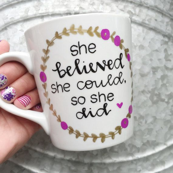 She Believed She Could So She Did  Purple por MorningSunshineShop