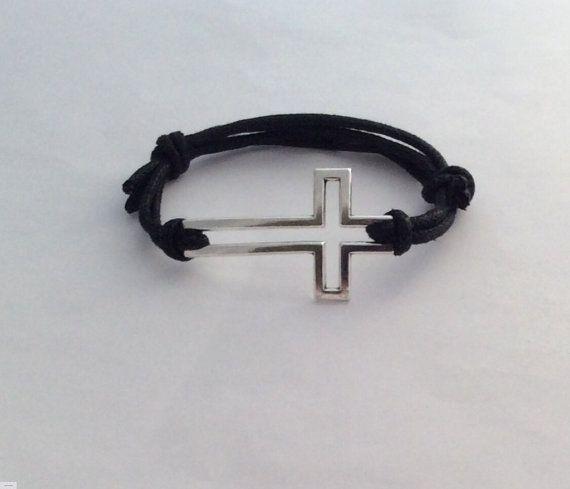 Cruz pulsera pulsera cristiana de los hombres joyería Cruz