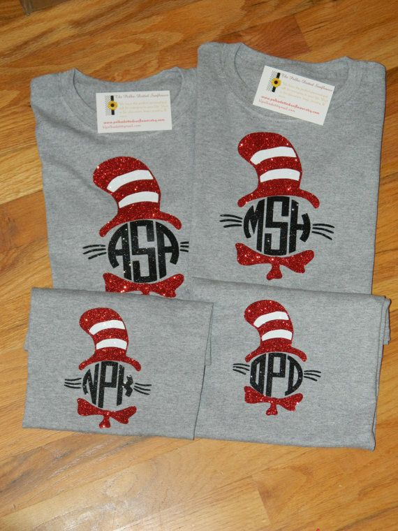 Glittery Monogrammed Cat In The Hat - Dr. Seuss Theme Shirts - Adult & Youth - Great Back to School Shirts!
