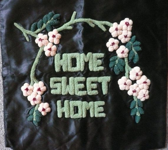 Vintage Home Sweet Home Pillow Sham 1970s Crewel by Tasteliberty, $34.00