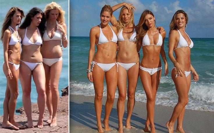 Ангелы Victoria's Secret безретуши имакияжа