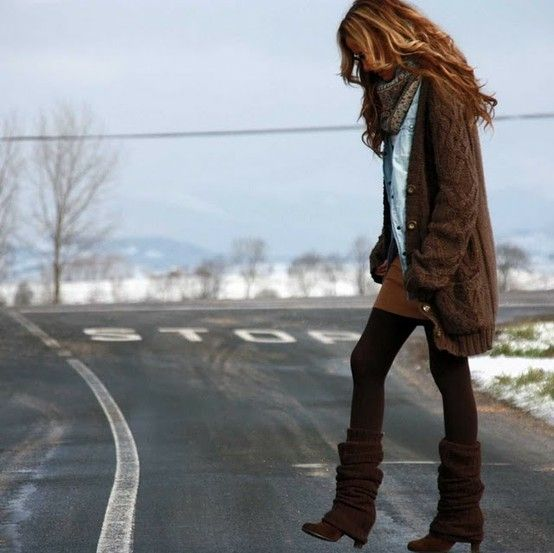 baggy sweaters, leggings, and boots--love it by deirdre
