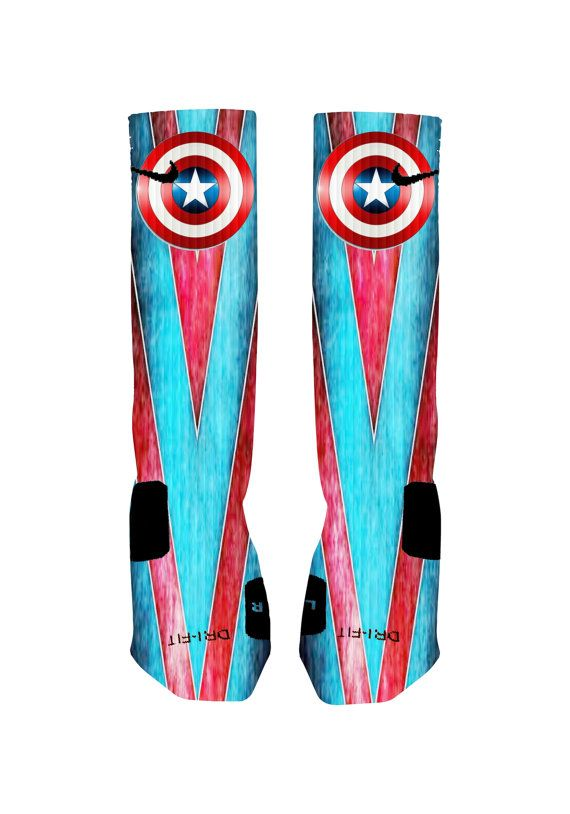 Custom Captain America Socks Custom Nike Elite by NikkisNameGifts, $25.00