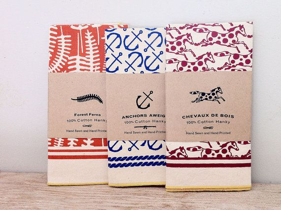 rcboisjoli Triple Hanky Pack - 100% Cotton Hand made graphic handkerchiefs, Polka Dot Pony, Anchor and Forest Fern