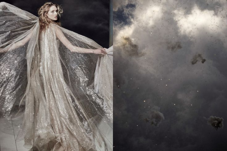 Match #401 Sanne Vloet photographed by Mariano Vivanco and styled by Olga Dunina for Vogue Russia May 2016 | The sky after Mascletà (fireworks) for Fallas, an annual festival celebrated throughout the province of Valencia, Spain to mark the end of...
