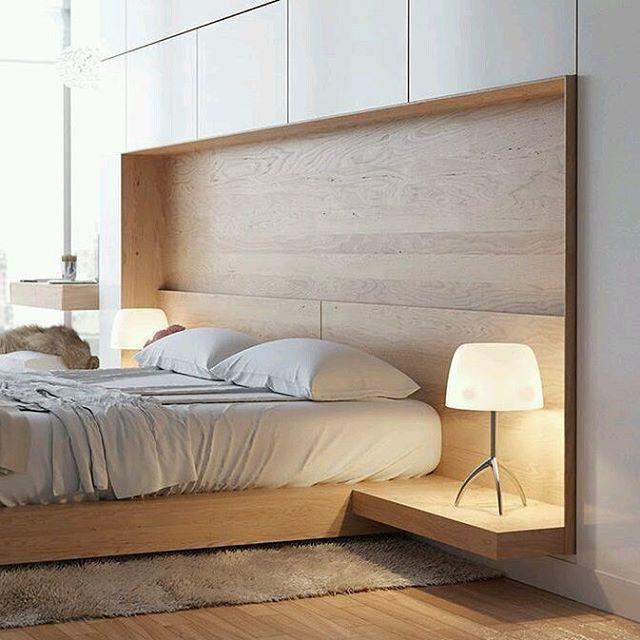 Creativo #diseño para #habitaciones #modernas donde fondo de la #cama se integra a la pared en forma de nicho y se proyecta en su base para convertirse en #mesa de noche Ve mas #ideas para #remodelar en: arquitecturacreativa.blogspot.com Siguenos...