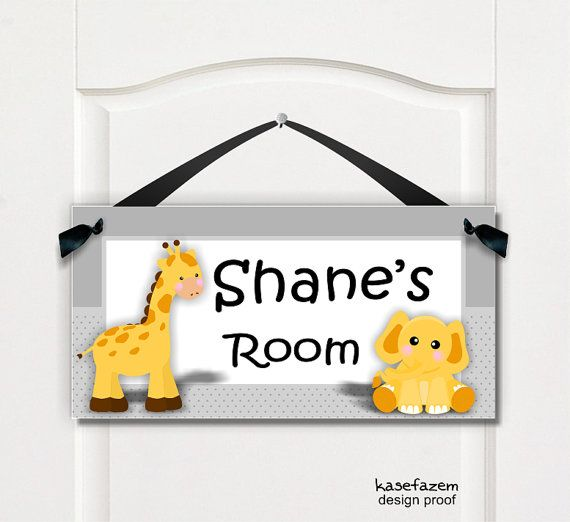 elephant and giraffe personalized baby nursery door by kasefazem, $16.99