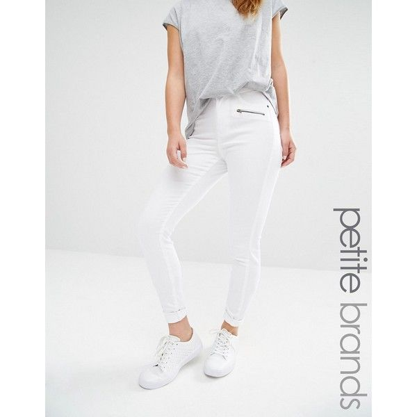 Vero Moda Petite Zip Detail Skinny Jeans ($47) ❤ liked on Polyvore featuring jeans, petite, white, super high-waisted skinny jeans, skinny jeans, white high waisted jeans, high-waisted jeans and high waisted skinny jeans