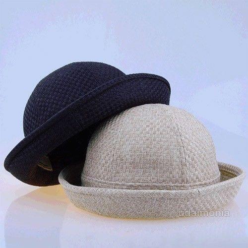 Straw Mat Pork Pie Hat Black Beige Fedora Hats for Women Ladies 7 1/8~7 3/4