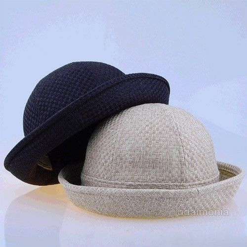 Straw Mat Pork Pie Hat Black Beige Fedora Hats for Women Ladies 7 1/8~7 3/4