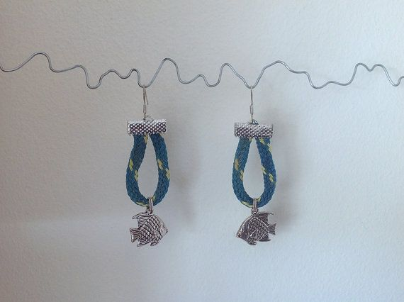 Earrings Fishing Net Rope Nautical Charm by turquoisestormcrafts