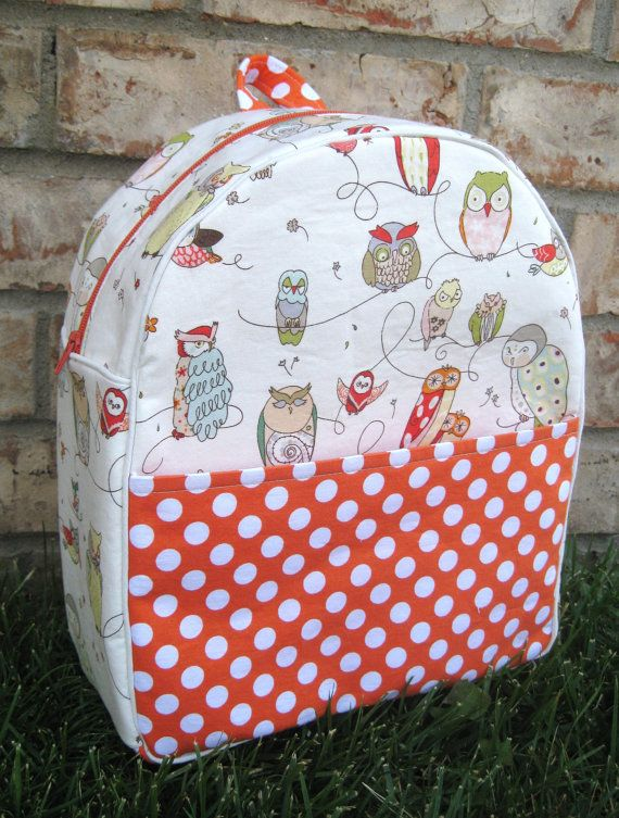 Isn't the combination of prints great?!  Mod Owl Backpack by teachermom on Etsy, $44.00
