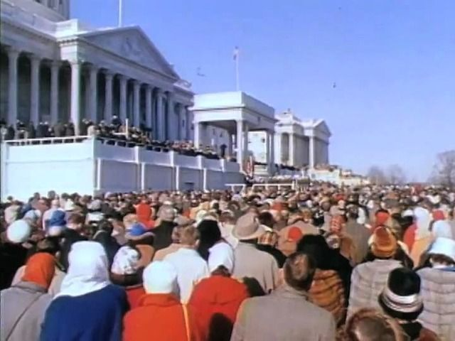 <p>Color footage of John F. Kennedy being sworn-in by Chief Justice Earl Warren followed by President Kennedy's inaugural address.</p>