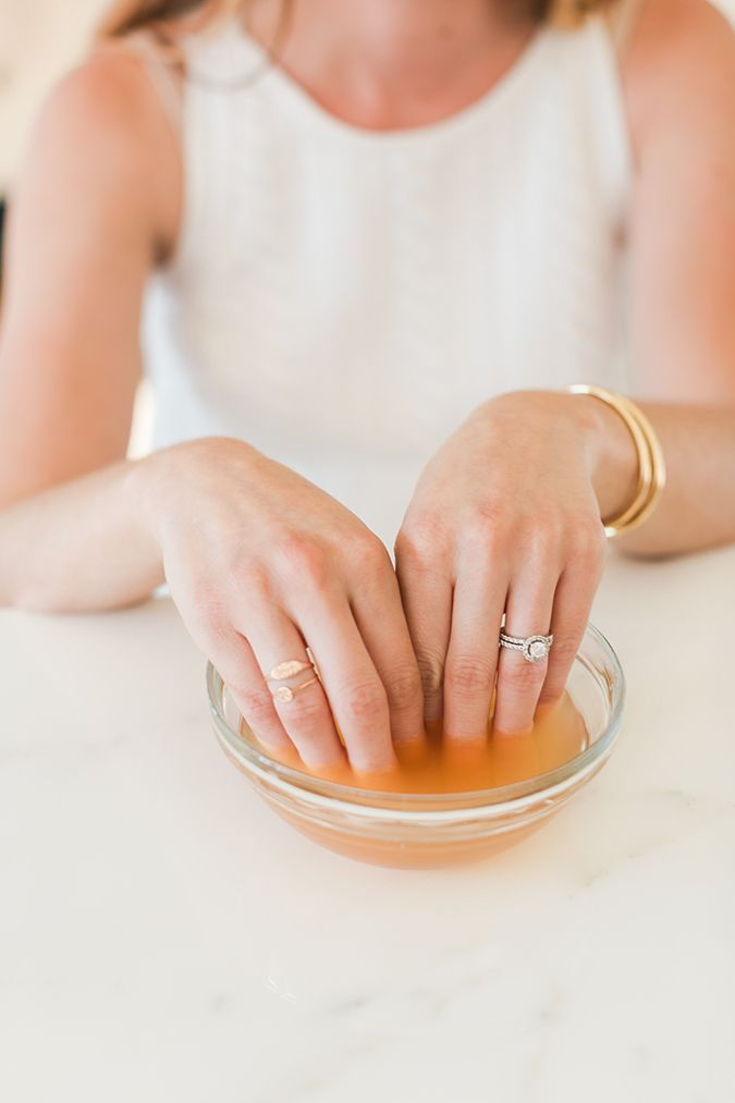 DIY Gel Polish Recover Treatment: apple cider vinegar coconut oil vitamin E oil