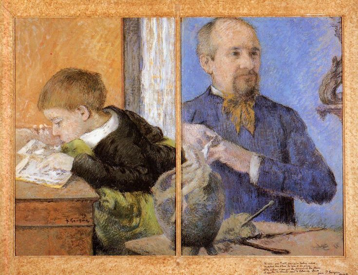 Paul Gauguin - Aube the Sculptor and His Son : 1882