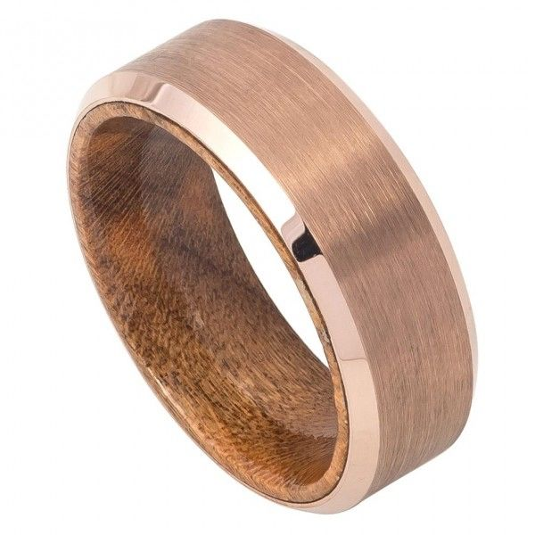 MSRP: $399.99 Our Price: $199.99 Savings: $200.00 Item Number: TR760 Availability: Usually Ships in 5 Business Days PRODUCT DESCRIPTION: Crafted in Durable, Tungsten Carbide, this handsome wedding band for him features a Rose Gold, Brushed finish with a Beveled Edge Design and an African Sapele Mahogany Wood Inner Ring. Tungsten because of its toughness, affordability, scratch resistance and hypoallergenic properties has become a material of choice in wedding jewelry. Available