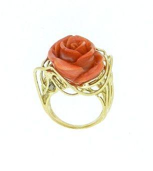 Ring Coral Rose Gold 18 kt Natural coral rose - Dogale Jewellery Venice Italia www.veneziagioielli.com