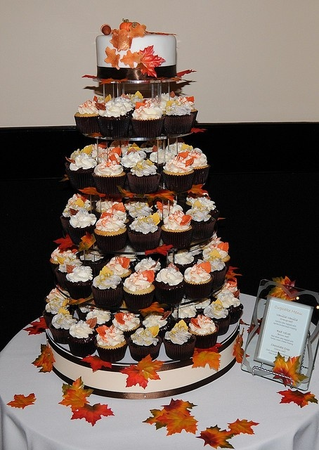 fall wedding cake flavor ideas fall wedding cupcake tower by the couture cakery via 14160
