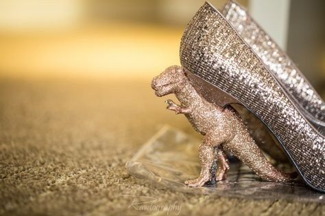 "So these glittery dino shoes can be given the proper respect they deserve. | 12 Reasons You Should Have A ""Jurassic World""-Themed Wedding"