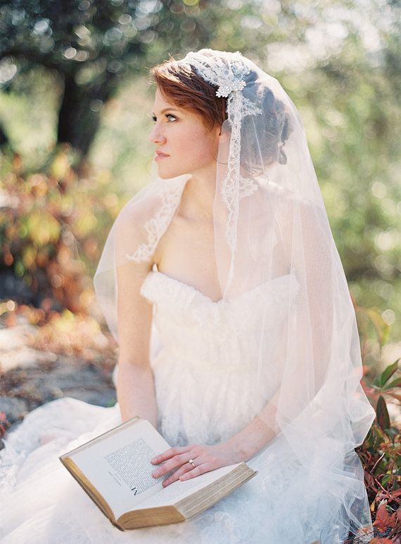 Tule chapel length veil lace bridal cap Touch of by sibodesigns