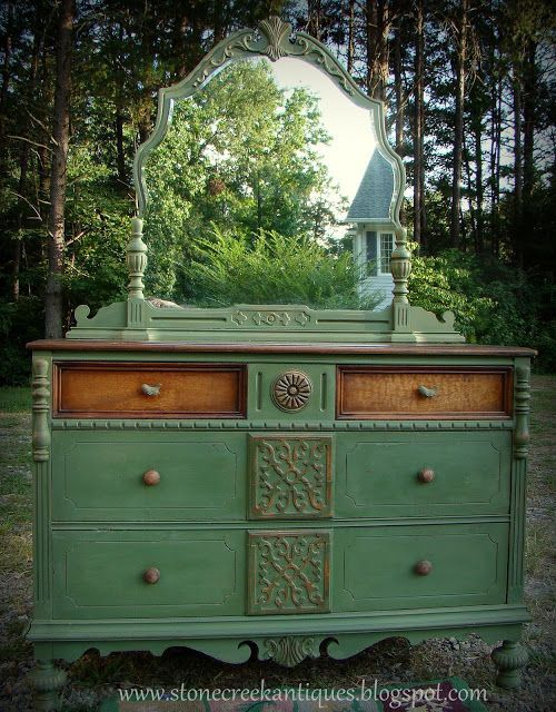 Gorgeous dresser shared by Simply Stone Creek @ Knick of Time Tuesday! http://stonecreekantiques.blogspot.com/2013/08/green-with-envy.html