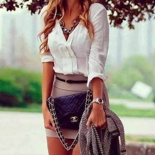 white blouse, beige skirt, silver watch, crystal statement necklace, chanel black bag