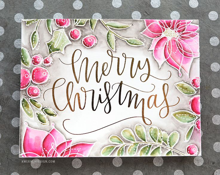 Print a sentiment on a laser (toner based printer) printer.  Top with foil, sit between plastic sleeve & run through laminator, hot setting.  Let cool for a moment then peel off.  Now stamp & emboss flowers & leaves in white, draw in colour with Distress Markers & blend out with water.